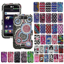 For LG CONNECT VIPER 4G MS840 LS840 Cover Bling Diamond Gem Hard Snap On Case