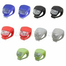 2Pcs Silicone Bike Bicycle Cycling LED Frog Front Rear Flash Light Warning Lamp