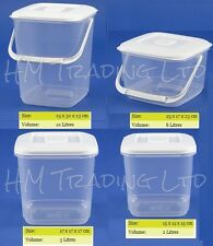 Clear Plastic Food Storage Canister Container Tub Freezer Box With Lid Kitchen