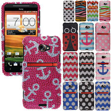 For HTC EVO ONE 4G LTE Phone Various Design Bling Diamond Gem Hard Case Cover