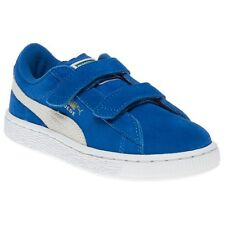 New Infants Puma Blue Suede 2 Straps Trainers Velcro
