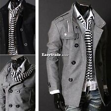 Men Stylish Casual Slim Fitted Jacket Double PEA Wool Trench Coat Outwear Tops