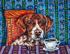 pointer dog art  poster gift  modern folk pop coffee abstract color GLOSSY PRINT