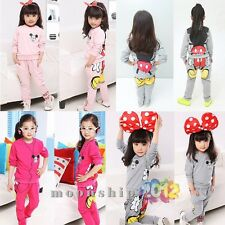 Lovely Baby Girl Minnie Mickey clothes Long sleeve Tshirt+pants set Sportsuit