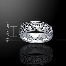 Celtic Linking Knotwork Silver Claddagh Wedding Ring - Size Selectable