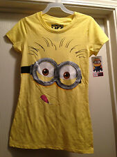 DESPICABLE ME 2 Womens Juniors Yellow Minion Face Tee T Shirt S-XL Brand New