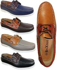 Men Brixton Leather Driving Casual Boat Shoes Moccasins Lace Up Essien