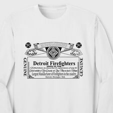DETROIT FIREFIGHTERS Kings of Fire T-shirt Fireman Beer Long Sleeve Tee