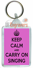 KEEP CALM AND CARRY ON SINGING KEYRING BAG TAG BIRTHDAY NOVELTY GIFT KARAOKE