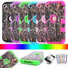 Straw Grass Camo Hybrid Impact Hard Case Cover for iPod Touch 4 4th Gen -6colors