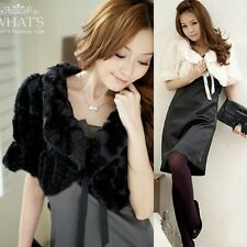 Chic Women New Faux Fur Half Sleeve Ribbon Fluffy Cape Coat Bolero Shrug Outwear