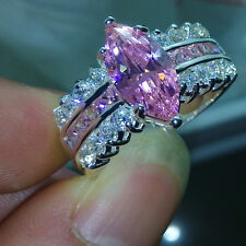 Sz 5-11 CLassic Marquise Cut Pink Sapphire Cz Diamonique 925 Silver Wedding Ring