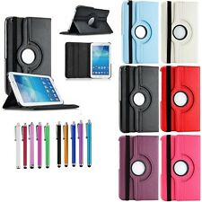 "Samsung Galaxy Tab 3 T310 P3200 PU Leather 360 Rotating Case Cover 7"" 8"" inch"