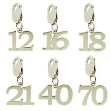 925 STERLING SILVER BIRTHDAY NUMBER AGE CLIP ON PENDANT CHARM GIFT 10-70