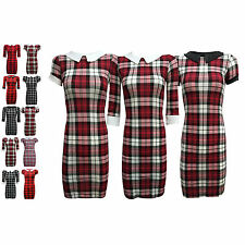 H3C NEW LADIES WOMENS TARTAN PRINTED SHORT SLEEVE TUNIC MINI DRESS SM ML