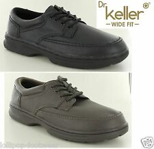 Dr Keller Mens Real Leather Lace Up Wide Fit Office Shoes Black/Brown 6-12