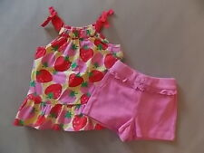 NWT Girls Gymboree Strawberry tank top shirt elastic shorts 6-12 months 2T 3T 5T