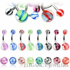 14GA 316L Surgical Steel & Acrylic Marble-Look Navel Belly Ring Multiple Colors