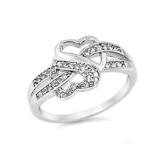 Sterling Silver Infinity Promise Heart Love Knot Ring Clear CZ Size 5 6 7 8 9 10