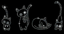 4 Cats Rhinestud Rhinestone Kitties T-Shirt PLUS SIZE SUPERSIZE T337F S up to 8x
