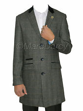 Mens Designer Charcoal Tweed Herringbone Vintage Long Coat Checked Long Jacket