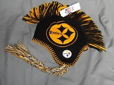 Pittsburgh Steelers Youth Size 8-20 NFL Mohawk Beanie Winter Hat Ear Flaps New