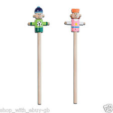 KIDS WOODEN PENCIL WITH TOPPER - PRINCESS & FOOBALLER PARTY BAG FILLER TOY GIFT