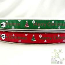 "5 metres green/red snow flake Christmas Tree Grosgrain RIBBON craft 3/8""(9mm)"