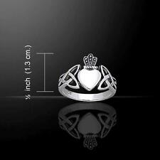Beautiful Irish Themed CLADDAGH & Celtic Knotwork Silver Ring - Size Selectable