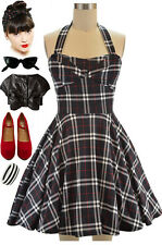 50s Style BLACK Plaid PUNK TRAVELING CUPCAKE TRUCK Dress with HALTER Petal Bust