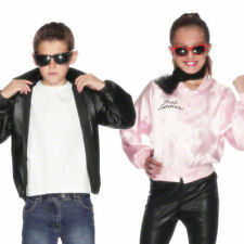 KIDS GREASE BOY T-BIRD BOY GIRL PINK LADY JACKET CHILDRENS FANCY DRESS COSTUME