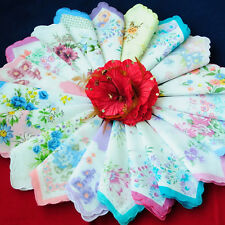 Vintage Women Child Cotton Handkerchiefs Hankies Flower Quadrate Lot