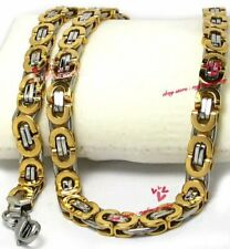 Mens 8mm Silver Gold Stainless Steel Flat Byzantine Box Chain Necklace