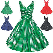 Maggie Tang 50s 60s Polka Dots VTG Retro Rockabilly Pinup Party Swing Dress S514