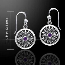 Stunning Celtic Knots Ship's Compass Silver Earrings with Gemstone