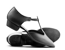 Ladies Black Leather Dance Greek Sandal Teaching Jive Ceroc Salsa Shoe By Katz
