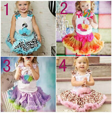 2PCS New Baby Girl Top+Tutu Pageant Party Formal Dress Skirt Costume Set Outfits