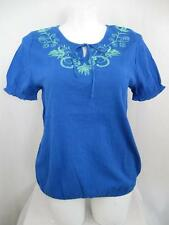 NWOT Lane Bryant Plus Size Short Sleeve Crinkle Cotton Embroidered Peasant Top