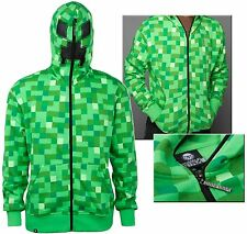 AUTHENTIC MINECRAFT ADULT CREEPER PREMIUM ZIP-UP HOODIE SWEAT SHIRT S-2XL