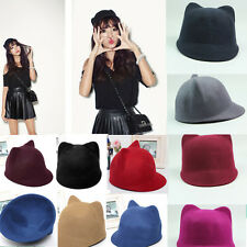1 x Cute Round Bowler Hat with Ears Cloche Cat Bear Ear For Lady Girl