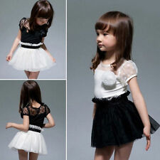 Baby Kid Girls Princess Formal Party Tutu Lace Flower Gown Dress One-Piece Suit