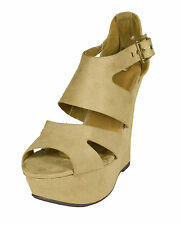 Badge! Delicious Trendy Cut-Out Platform Wedge Sandal Buckle Oatmeal Faux Suede