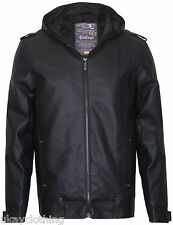Mens Faux Leather hooded Full Zip Jacket New