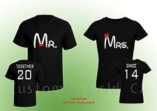 Custom Made Couple T-shirt Couple Love Mr and Mrs  Put the Dates or Notes