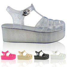 LADIES WOMENS WEDGES JELLY SANDALS CHUNKY PLATFORM GLADIATOR SUMMER SHOES SIZE