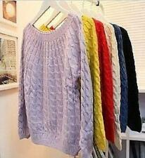 Women's Vintage style, Large round neck, Twisted knitted jumper