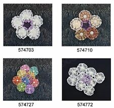 Prima * ADELYNN * LACE FABRIC FLOWERS * Pearl Centers * BRAND NEW 2014 *