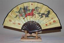 Beautiful Chinese Bamboo & Silk Hand Folding Fan, Wall Art, Decoration /w Base