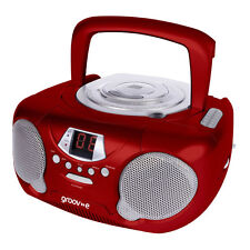 Groov-e Boombox Portable CD Player with Radio & Aux Input For iPhone Smartphones