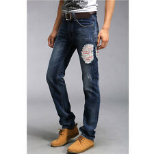 New Men Fashion Jeans Pants Back Fish-bone Design Stright Washing Jeans Trousers